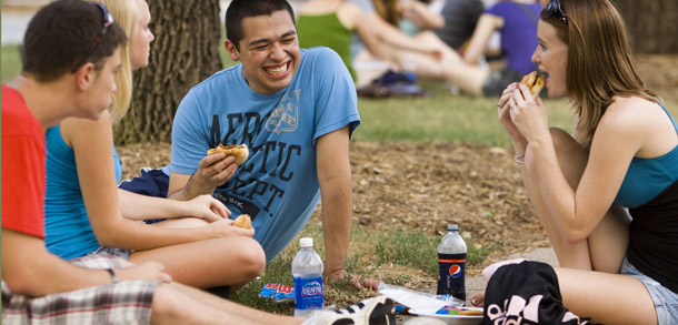 Students enjoying Pepsi